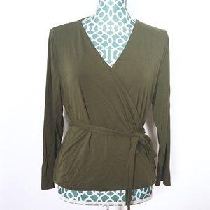 J. Crew Olive Green Wrap & Tie Blouse Size L H6782